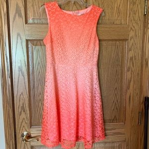 Ombré pink/coral lace dress